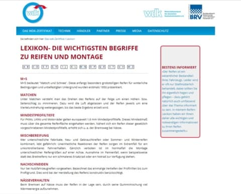 WDK Lexikon zu Reifen und Montage
